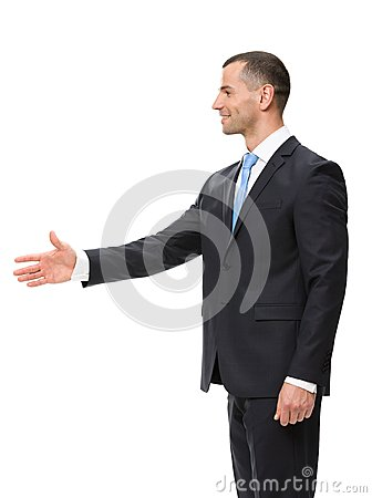 Profile of businessman handshake gesturing