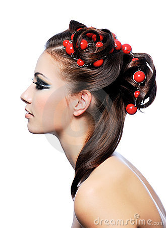 Profile of creativity hairstyle and fashion make-u