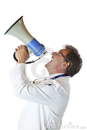 Profile of doctor screaming loudly in megaphone