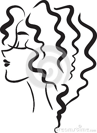 Profile girl with wavy hair
