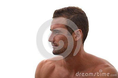 Profile of handsome male model on white background