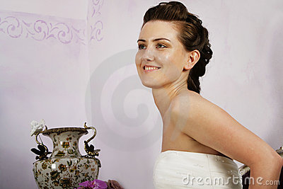Profile of Happy Bride in stylish interior