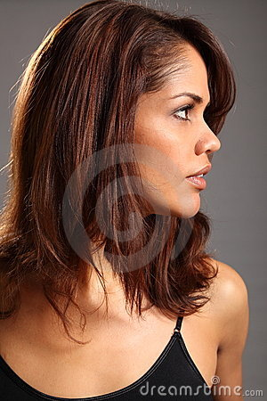 Profile headshot of beautiful young ethnic woman
