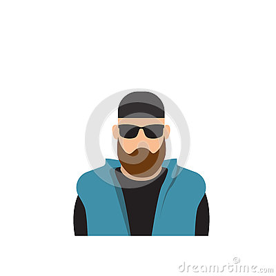 Free Profile Icon Male Avatar Man, Hipster Cartoon Guy Beard Portrait, Casual Person Silhouette Face Stock Photos - 82678583