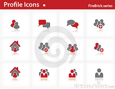 Profile icons set - Firebrick Series
