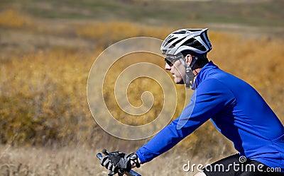 Profile of mountain biker