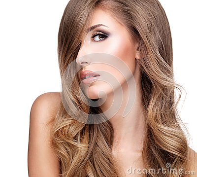 Free Profile Of A Beautiful Woman With Long Wavy Hair Royalty Free Stock Images - 35879689