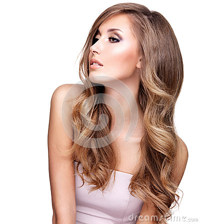 Free Profile Of A Beautiful Woman With Long Wavy Hair Stock Images - 61902934