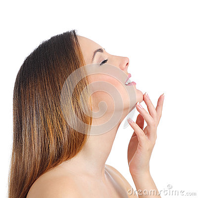 Free Profile Of A Beauty Woman Face Skin And Hand Manicure Stock Photography - 51186372