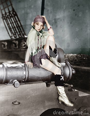 Free Profile Of A Young Woman Sitting On A Cannon And Thinking Stock Photos - 52015953