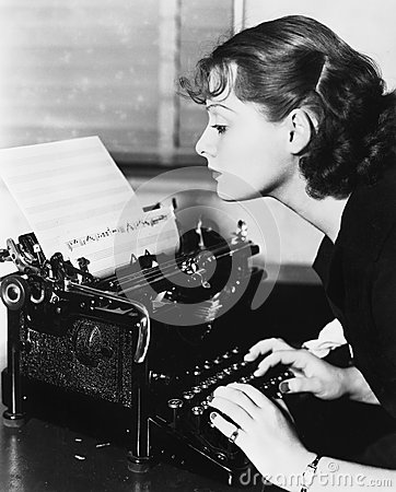 Free Profile Of A Young Woman Typing Musical Notes With A Typewriter Stock Image - 52020271