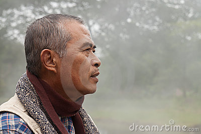Profile of an Old Man Staring