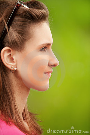 Profile portrait of beautiful young
