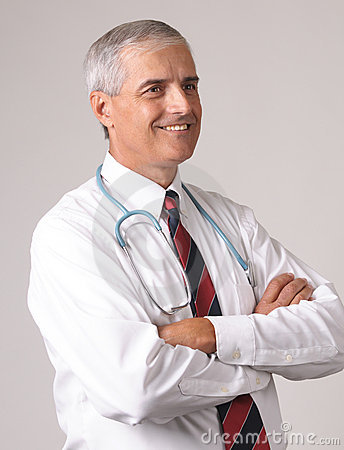 Profile Portrait of Smiling Middle aged Doctor