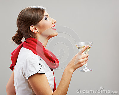 Profile portrait of young smiling woman drink wine
