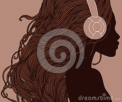 Profile of pretty african american girl in headphones