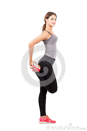 Free Profile Side View Of Young Sporty Female Beauty Stretching Leg Royalty Free Stock Images - 50528889