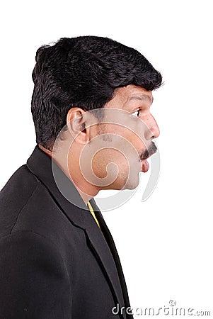 Profile of surprised man