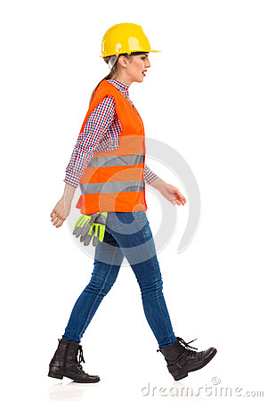 Profile Of Walking Woman Construction Worker Stock Photo ...
