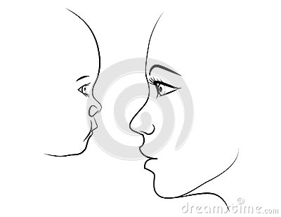 Mother and child face to face