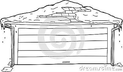 profilo del garage con neve sulla cima illustrazione di