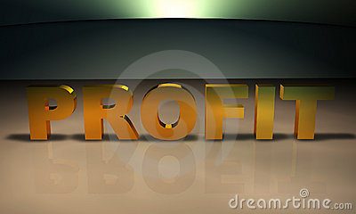 Profit 3D Text in gold