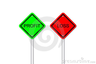 Profit And Loss Road Sign Style Stock Photography - Image: 24240082