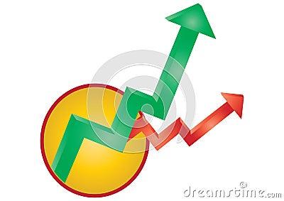 Profits and loss arrows vector