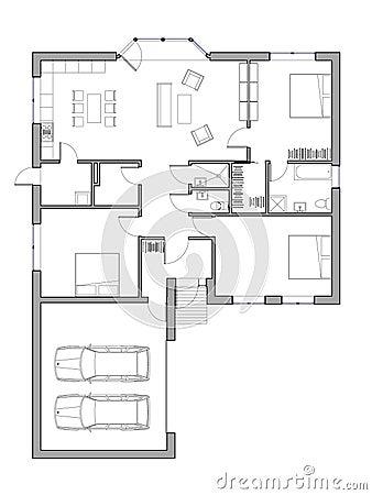 Progetto della casa unifamiliare illustrazione di stock for Disegno della casa di architettura