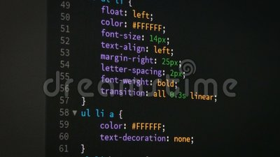 Programmer scrolling up and down for editing page of html css website code  editor