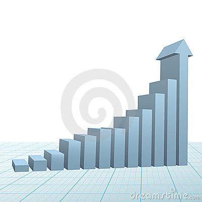Progress growth bar chart up arrow on graph paper