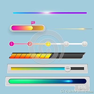 Free Progress Loading Bar Indicators Download Progress Ui-ux Web Interface Design Template File Upload Vector Illustration Stock Photos - 110161633