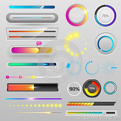 Free Progress Loading Bar Indicators Download Progress Ui-ux Web Interface Design Template File Upload Vector Illustration Stock Photography - 94165522