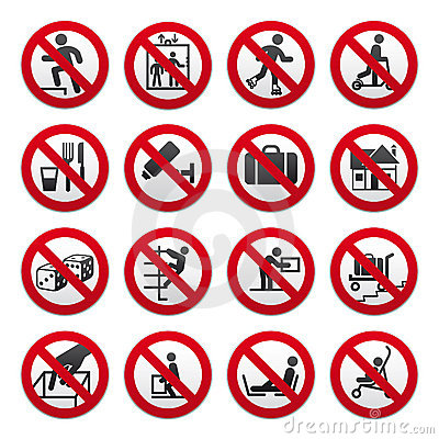 Free Prohibited Signs, Set Royalty Free Stock Photos - 19019468