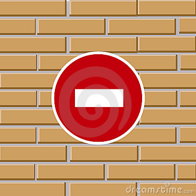Prohibiting traffic sign on brick wall
