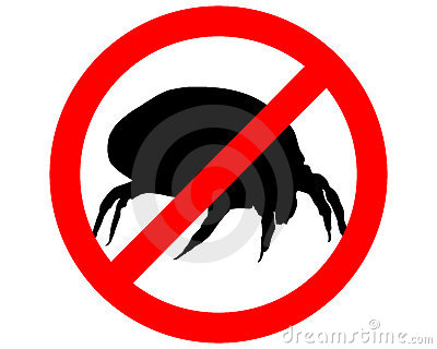 Prohibition sign for house dust mites
