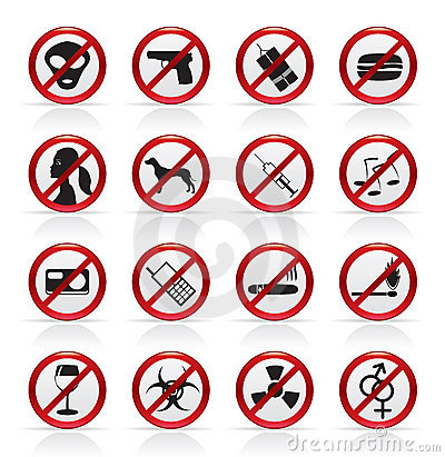 Prohibition Sign and icons