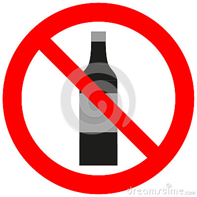 Prohibitory sign with an alcohol bottle