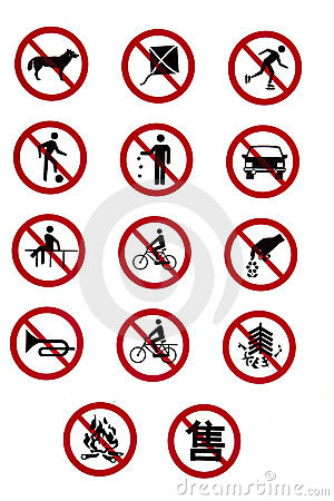 Free Prohibitory Traffic Signs - Rules And Regulations Stock Images - 20711894