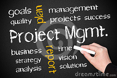 Project management on chalkboard