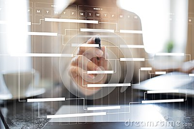 Project management chart on virtual screen. Schedule. Timeline. Stock Photo