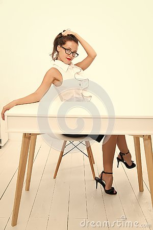 Free Project Manager. Business School Teacher Or Student. Charming Lady Smiling At Table. Business Success. Sexy Woman With Royalty Free Stock Images - 149502239