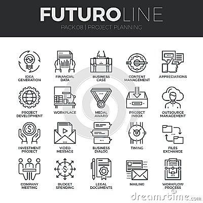 Free Project Planning Futuro Line Icons Set Stock Image - 62806721
