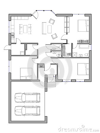 Project of the single family house stock illustration - Casa unifamiliare dwg ...