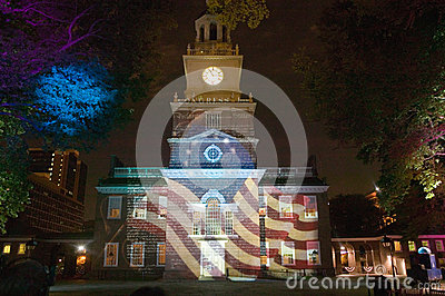 Projections of Betsy Ross Flag Editorial Stock Photo