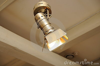 Projector searchlight on ceiling