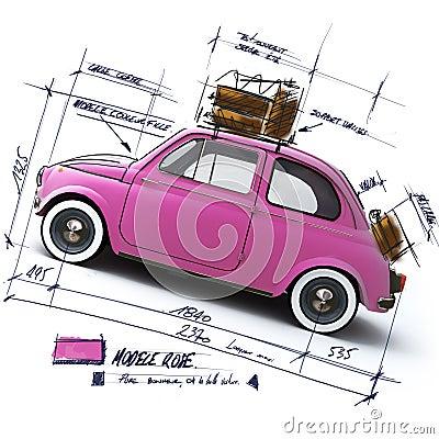 Projeto cor-de-rosa retro do carro