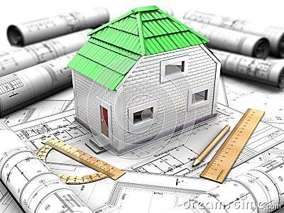 Projeto da casa com modelo, telhado verde