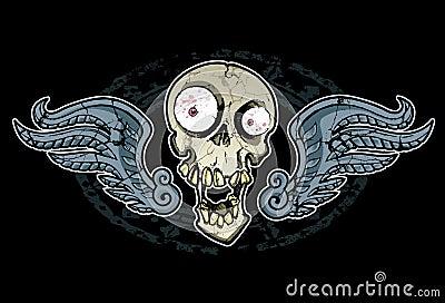 Crânio e asas loucos