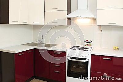 Projeto interior de cozinha doméstica